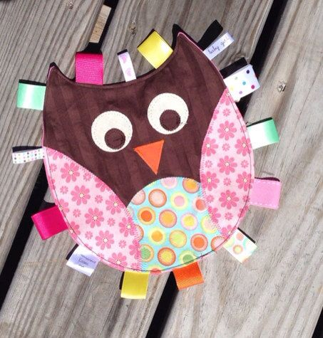 Owl Tag Toy for baby with appliquéd features by ...