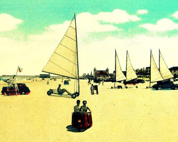 Vintage Florida Art Sand Sailing At Daytona Beach