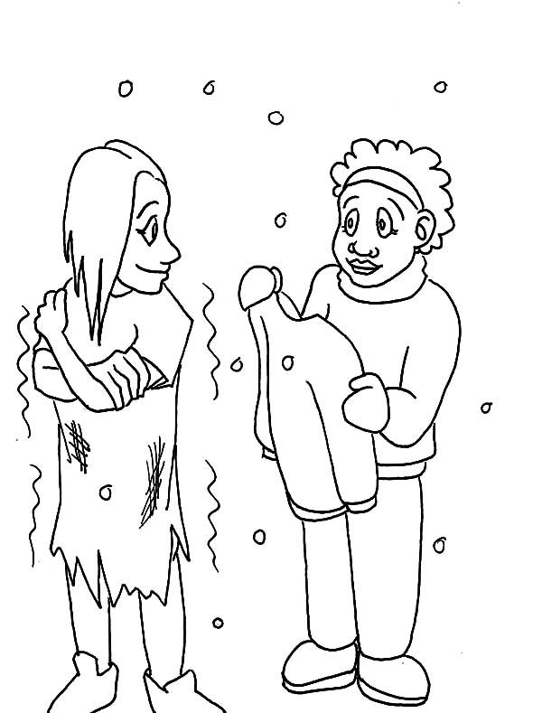 People Giving Clothes Coloring Pages Education