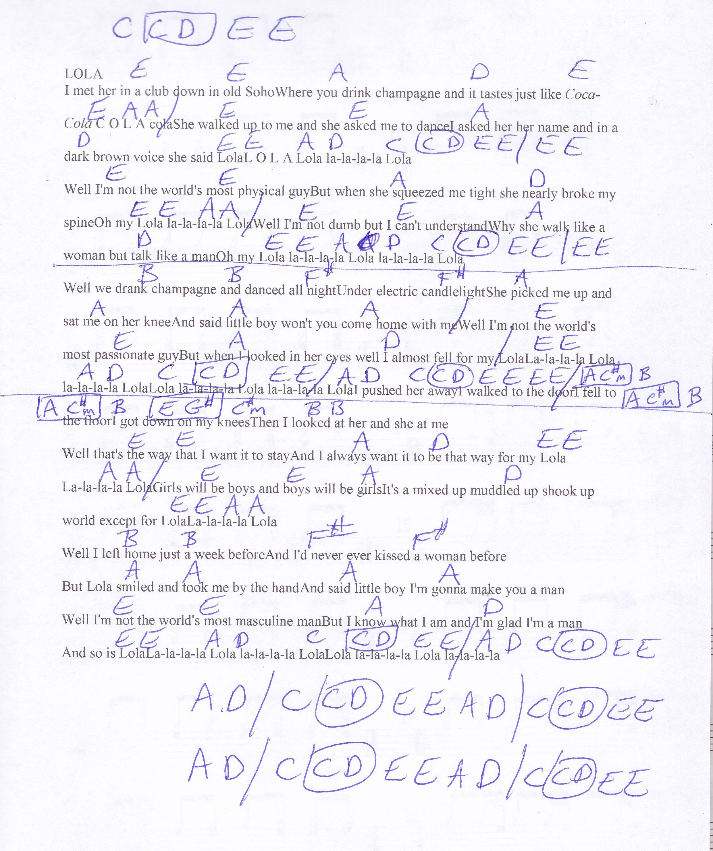 LOLA The Kinks Guitar Chord Chart   Music chords, Guitar chords ...