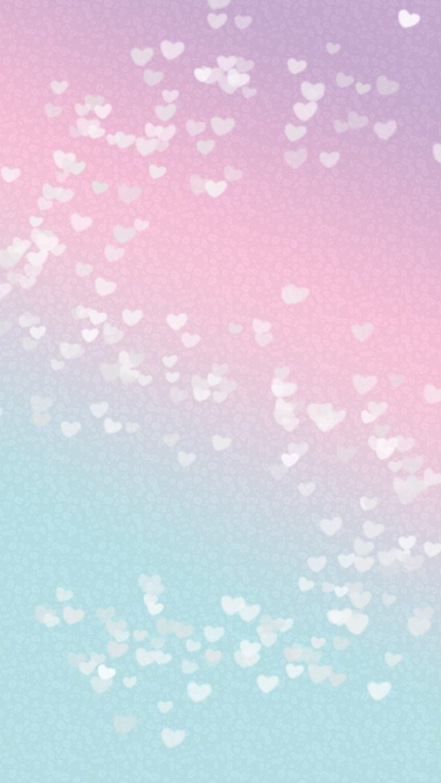 Pastel pink blue ombre mini hearts phone iphone wallpaper ...