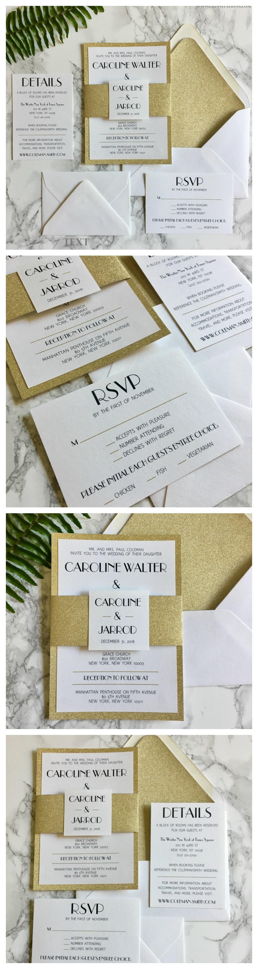 Gold Glitter Wedding Invitation with Glitter Belly Band, 20\'s Themed ...