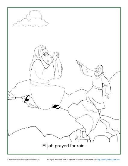 Elijah Prayed For Rain Coloring Page Bible Coloring Pages Bible