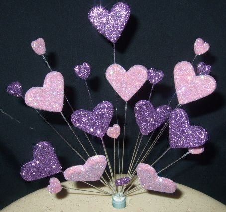 purple hearts cake tops | single-hearts-cake-topper-decoration-in-purple-and-lilac-made-to-order ...