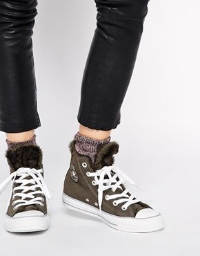 9b0613b65c7 Converse Chuck Taylor All Star Faux Fur Lined Leather Trainers ...