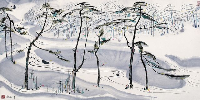 Painted by Wu Guanzhong (吴冠中, 1919-2010).  China Online Museum - Chinese Art Galleries