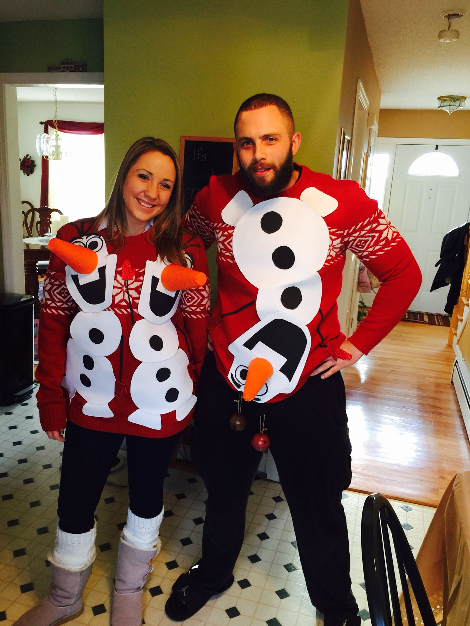 Christmas Sweaters For Couples.Pin On Olaf Couples Ugly Sweater