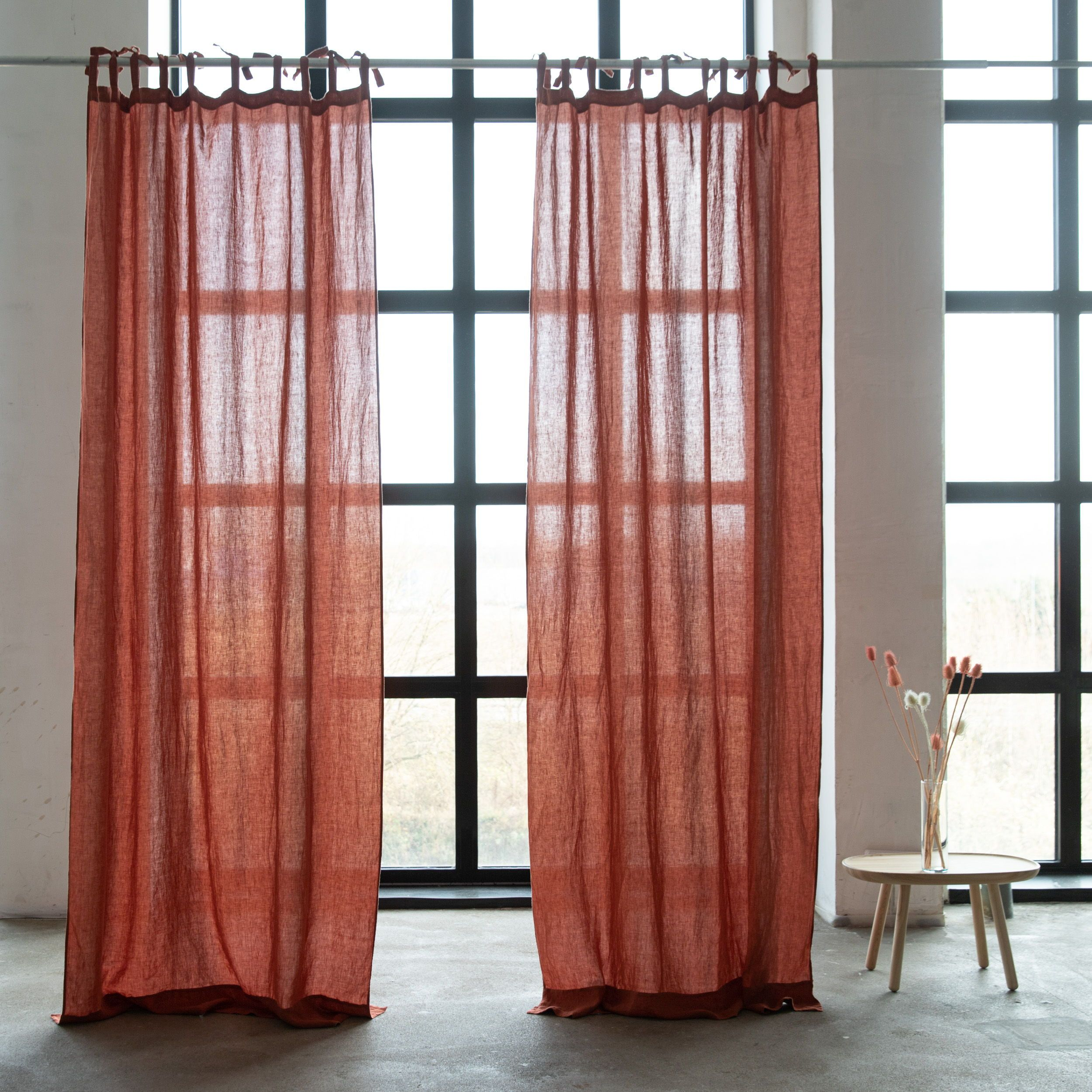 Finest Linen Curtains With Ties Brick Stone Washed Linen Silver In 2020 Curtains Linen Curtains Luxury Linen #silver #curtains #for #living #room