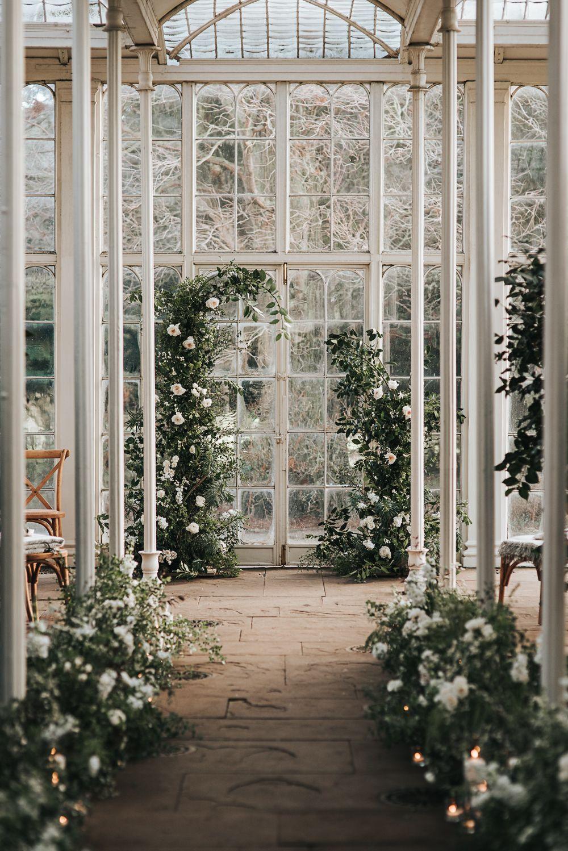 Wollaton Hall Wedding Intimate Romantic & Wintry Glass House Incredible Flower Arch | Whimsical Wonderland Weddings