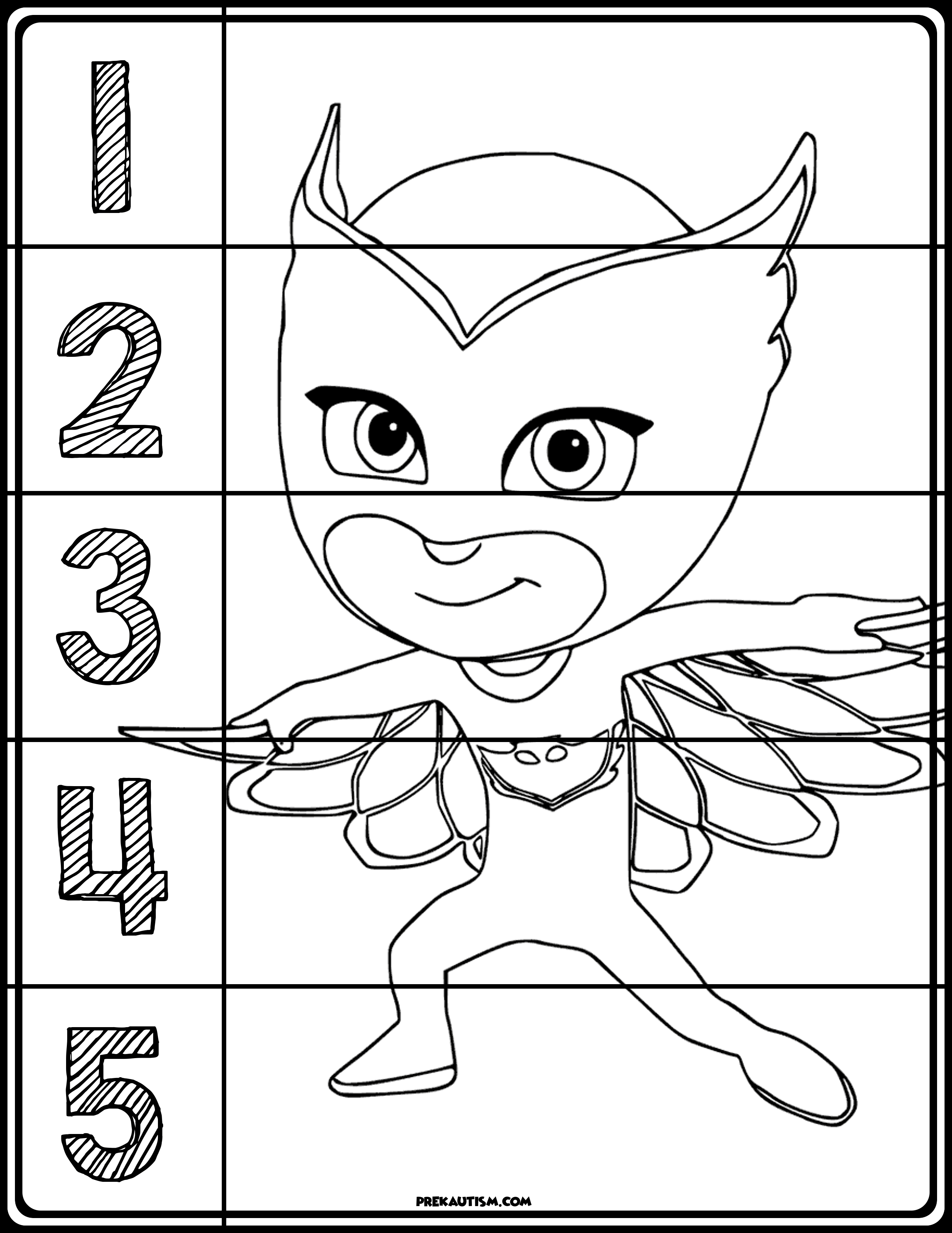 PJ Masks Coloring Number Puzzles | Number puzzles, Pj mask and ...