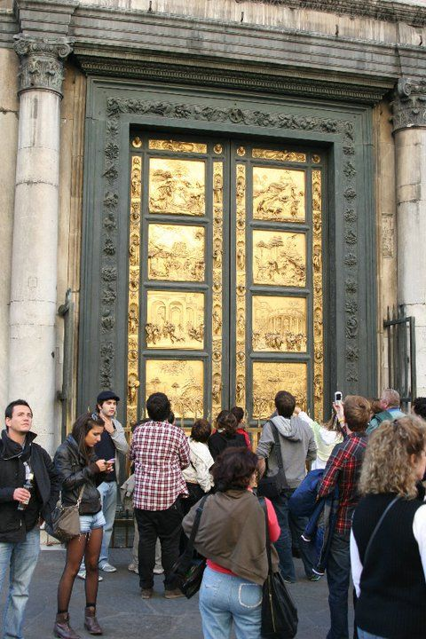 """Florence, Italy- reproductions of Ghiberti's """"Gates of Paradise"""" Originals in the Duomo Museum."""