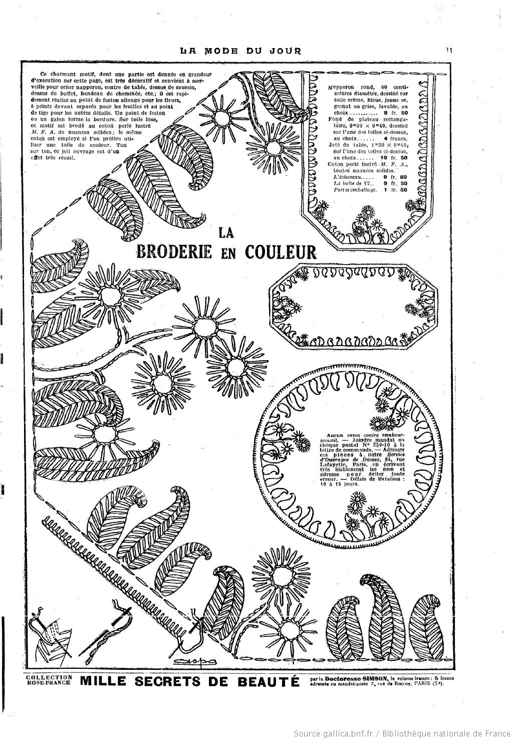 La Mode du jour. 1925/6/18 | Sewing | Pinterest | Patrones y Bordado