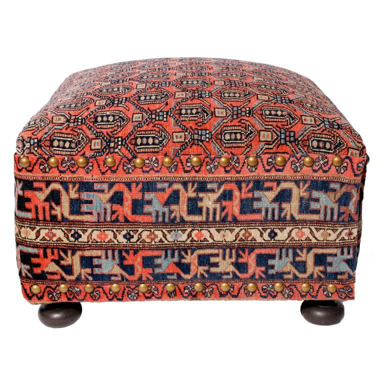 Oriental Rug Covered Ottoman Hassock Or Footstool From A Unique