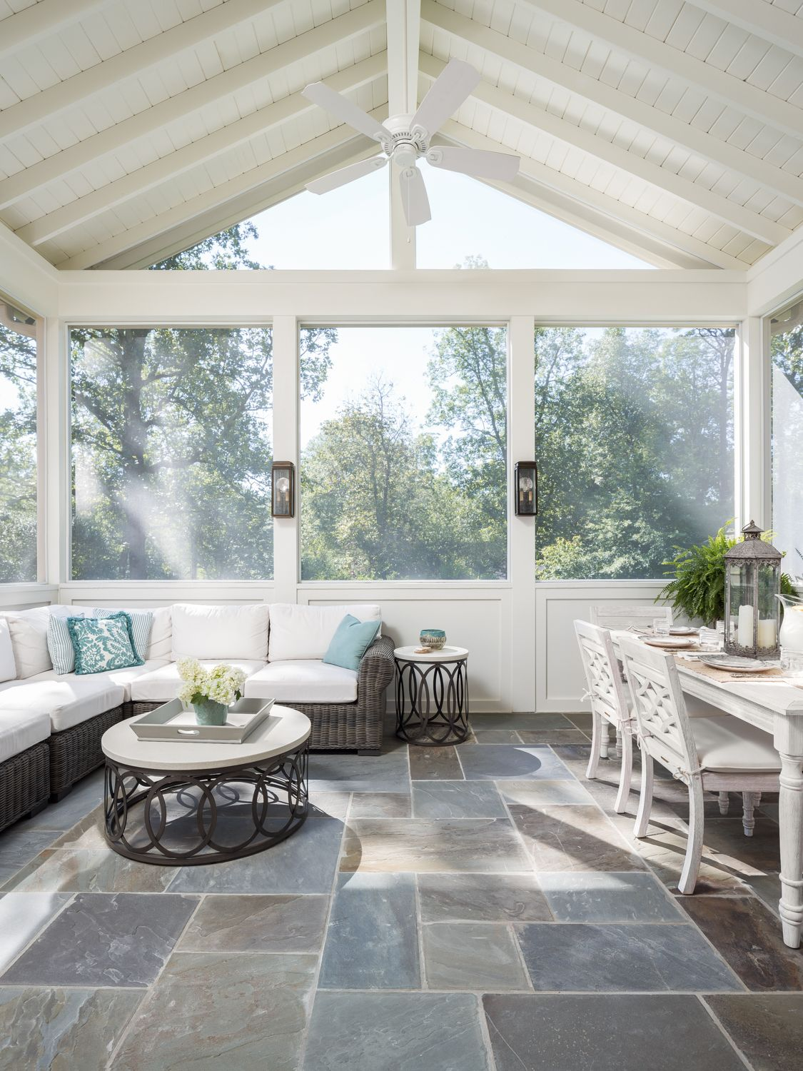 Covered Patio With Vaulted Ceiling And Fan Go Willow Homes Patio Room House With Porch Sunroom Designs