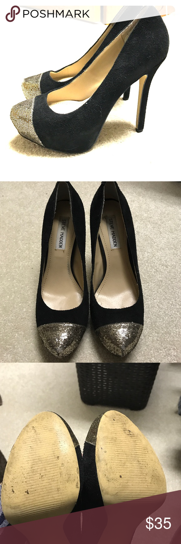 Steve Madden Pumps Worn a couple times. Black suede pumps. Gold glitter on the toe Steve Madden Shoes Heels