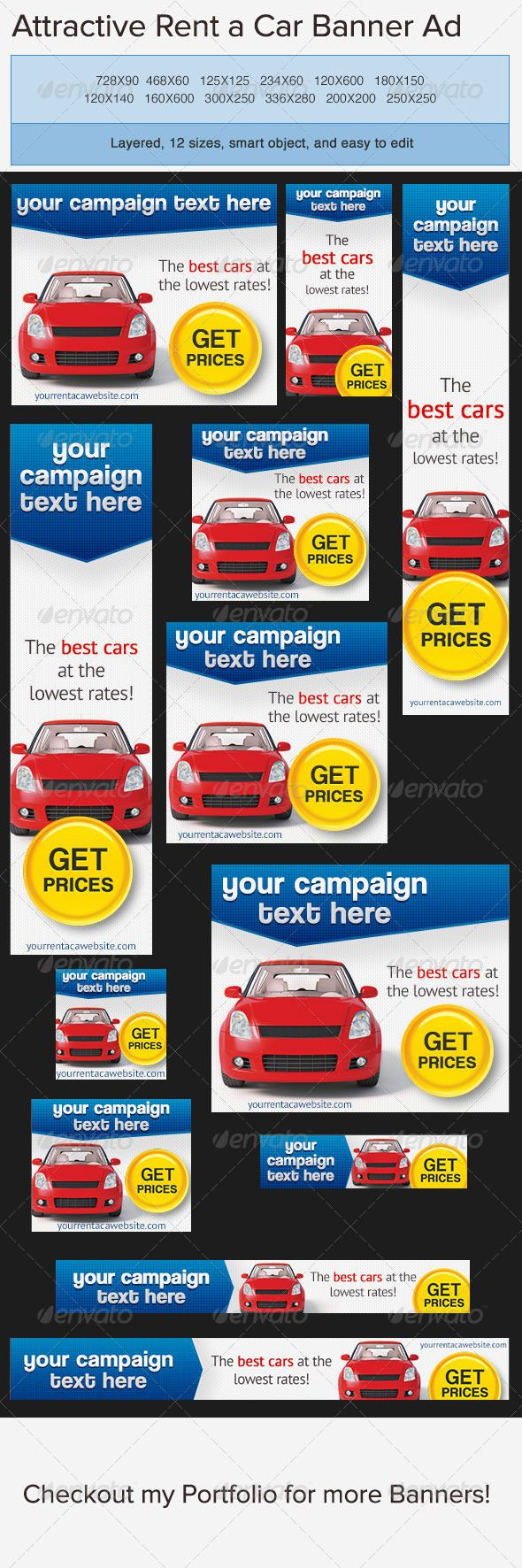 car rentals banner ad  banners web banners and banner template