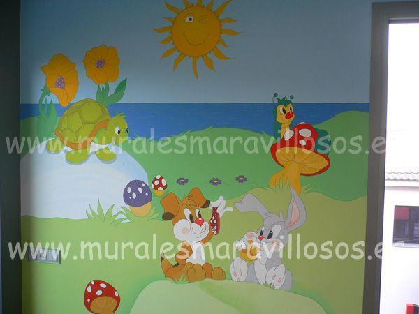 Murales infantiles de animales y cuentos pintados en paredes lisas o gotel toda espa a - Murales para ninas ...