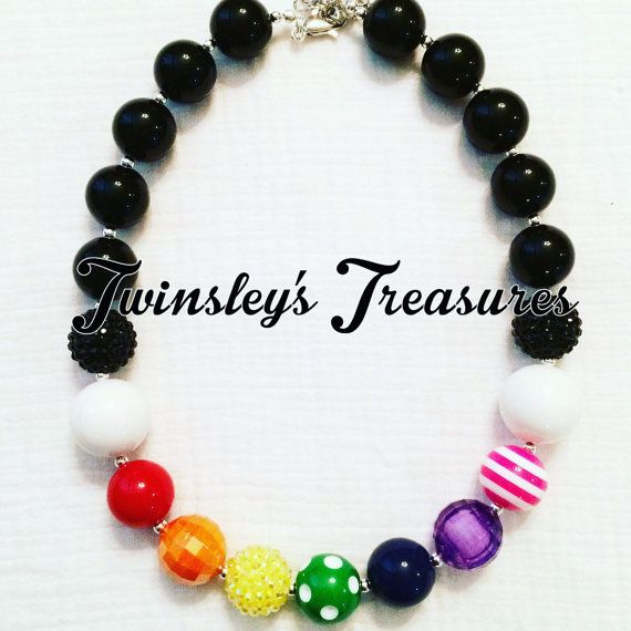 Rainbow with Black Accents Chunky Beaded by TwinsleysTreasures