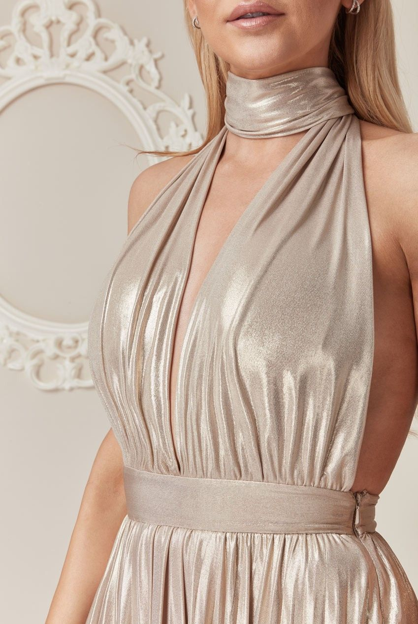 fe299dcd89 ... maxi dress by Stephanie Pratt from her 'French Kiss' clothing line.  With its sexy deep v neckline with choker style tie in this striking metallic  gold ...