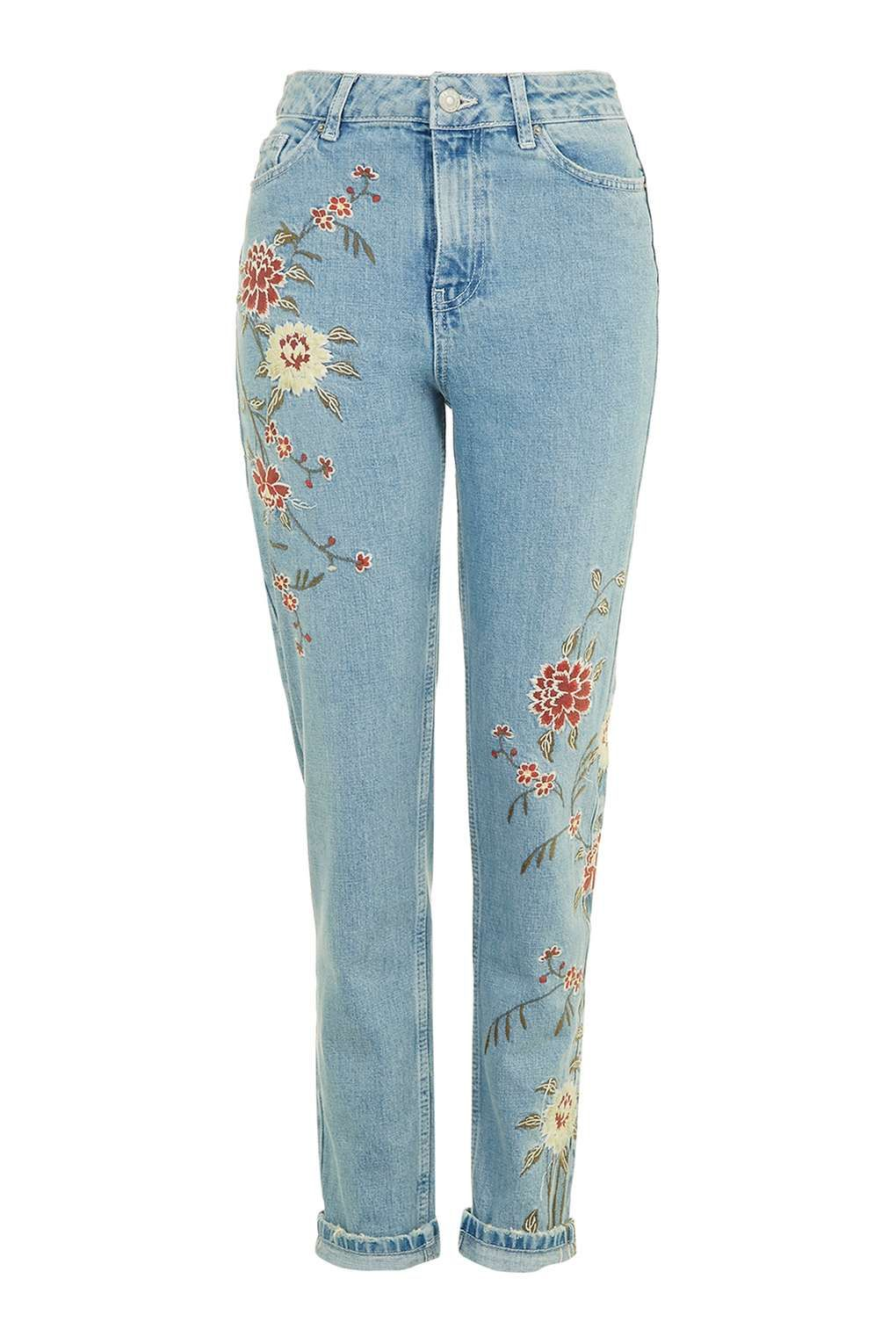 MOTO Floral Embroidered Mom Jeans - New In Fashion - New In