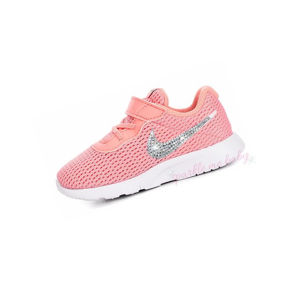 Swarovski Nike Tanjun Infant and Toddler - Bleached Coral ~ Bedazzled Nikes  - Blinged Out Crystal N c6082c39aef3