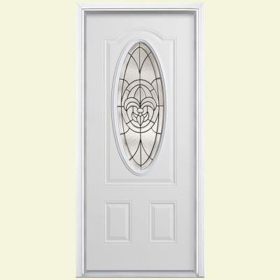 Masonite Fleur De Lis Three Quarter Oval Lite Primed Steel Entry