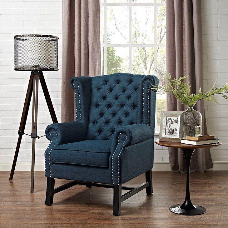 Modway Tufted Steer Blue Modern Fabric Armchair (Azure), Beige Off White  (Foam)