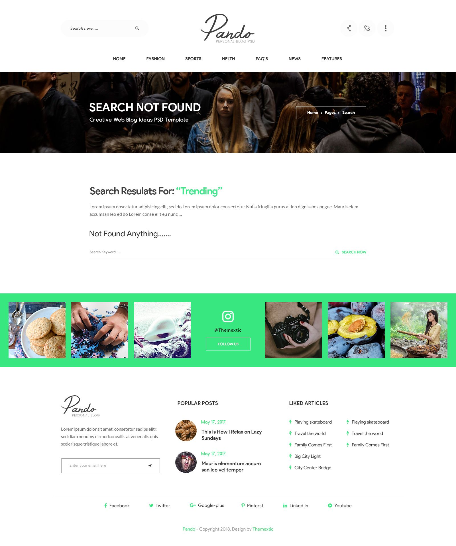 358eaebb1a4 Pando - Personal Blog PSD Template  Personal