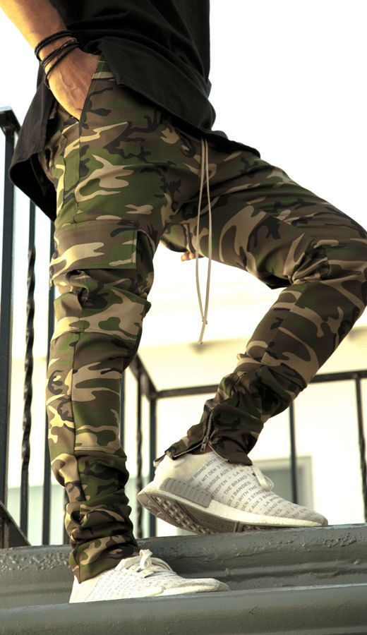 Camo Drawstring Ankle Zipper Pants - Camouflage (Fear of God Yeezy Rick Owens Inspired)
