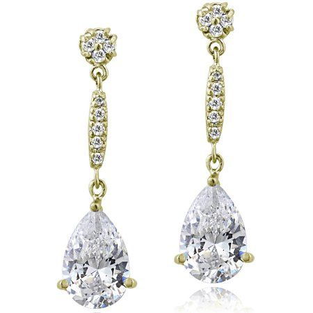 CZ Yellow Gold Flashed Sterling Silver Pear-Cut 15mm Dangle Earrings