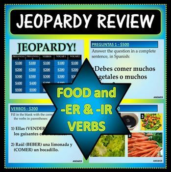 spanish 1 - jeopardy review game - food vocab and -er & -ir verbs, Powerpoint templates