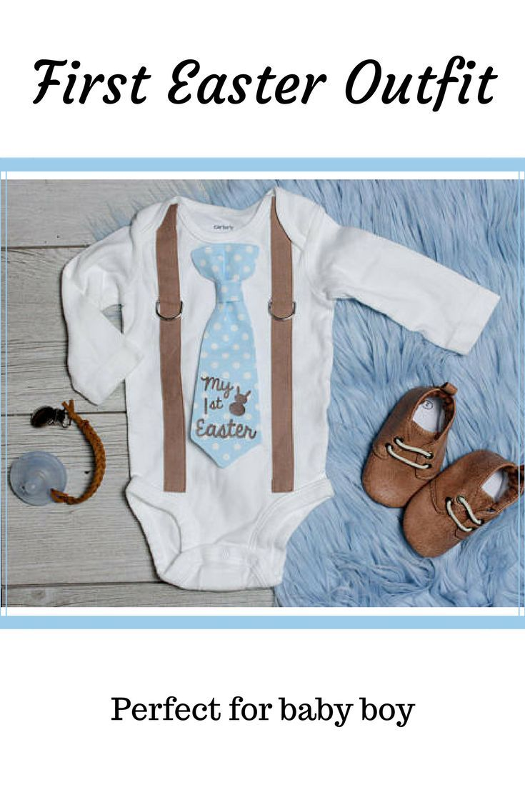 Baby Boy 1st Easter Outfit. Tie Suspender Outfit. First ...