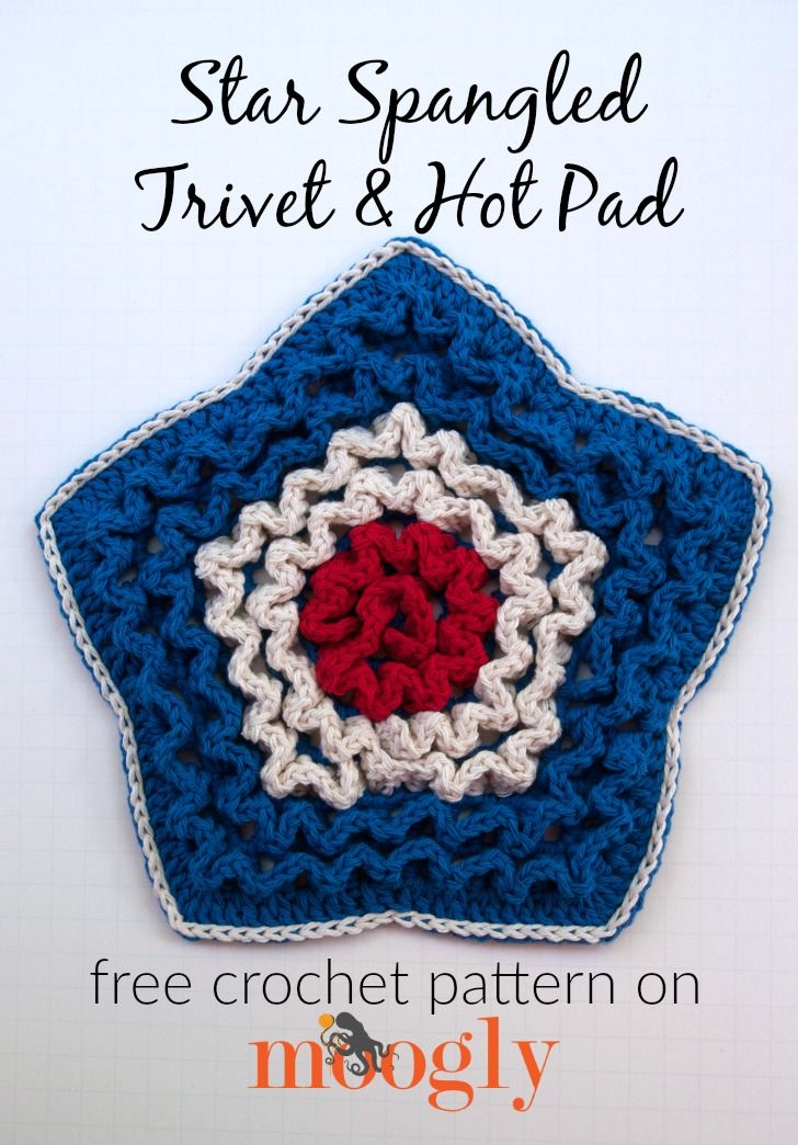 Star Spangled Trivet & Hot Pad | Tejido, Corazones de ganchillo y ...