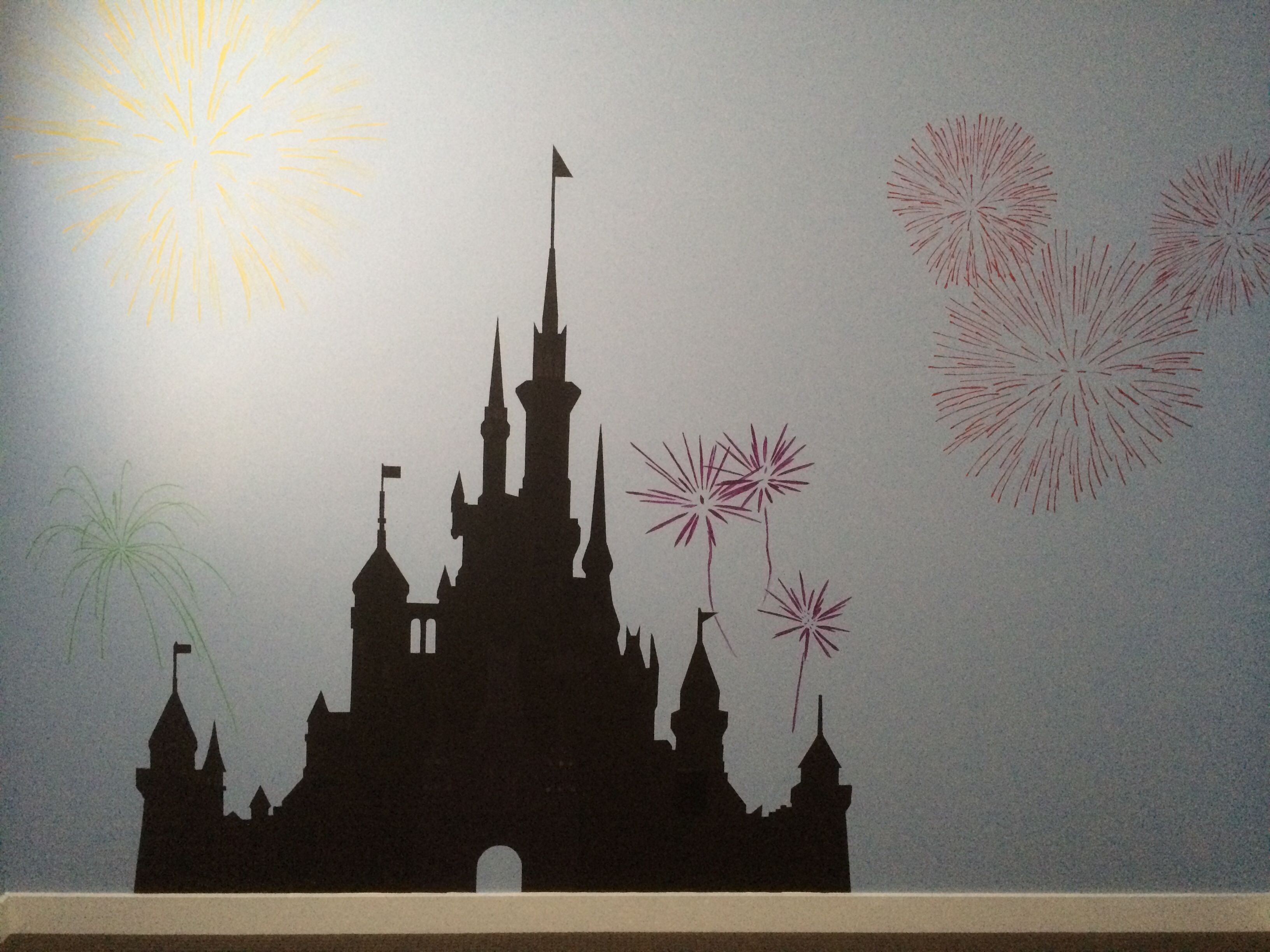 Disney wall mural hand painted in my baby girls nursery for Disney castle wall mural