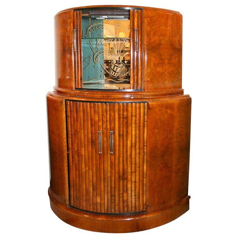 Art Deco Illuminated Bar Cabinet