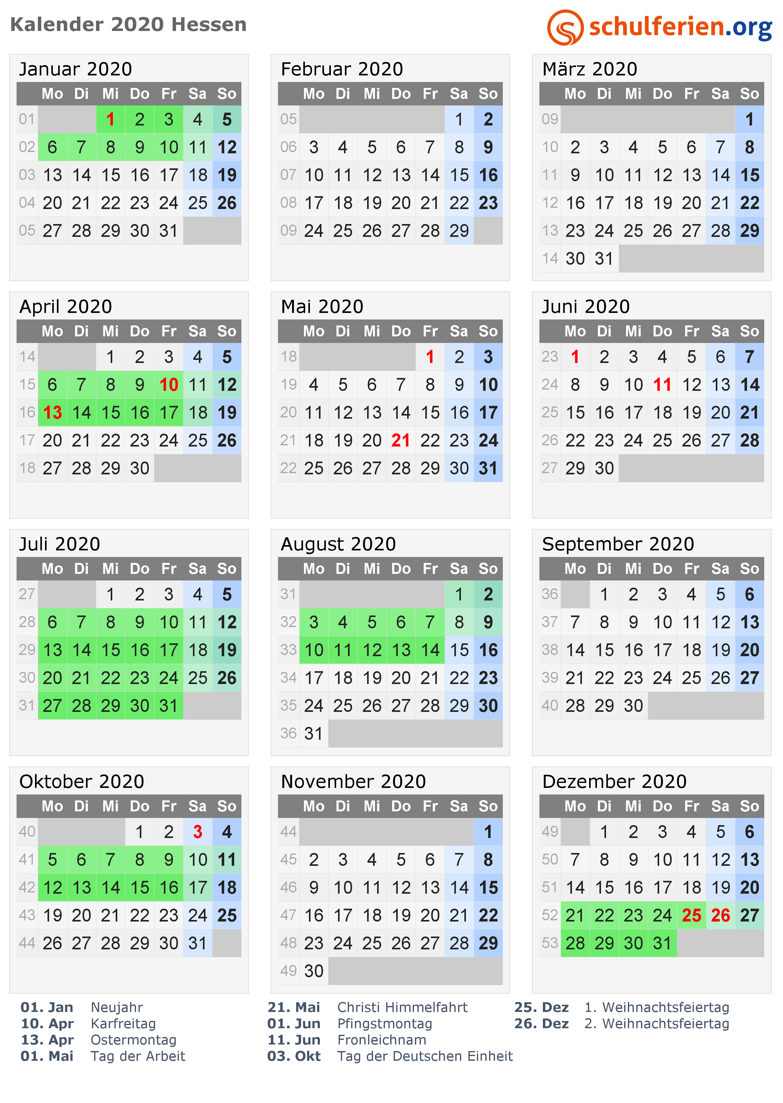 Kalender 2020 Mit Ferien Und Feiertagen Hessen Ferien