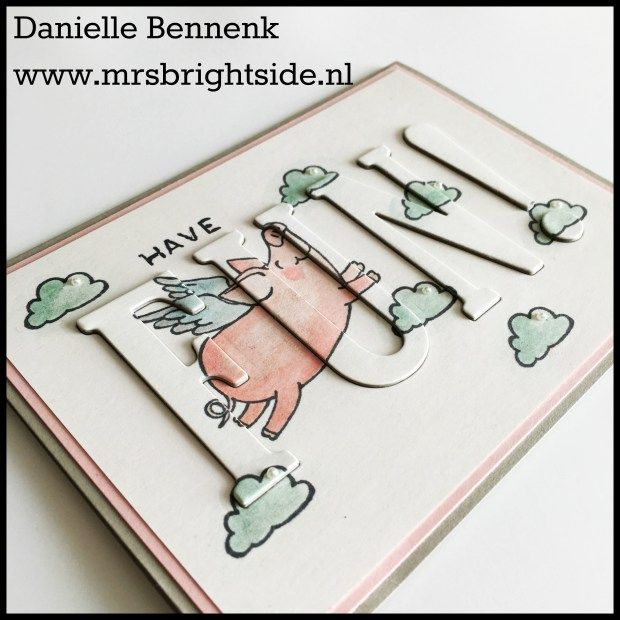 This little piggy and Large Letter framelits by stampin' Up! Raised die cut background card by Danielle Bennenk www.mrsbrightside.nl