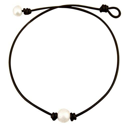 One Black Cultured Pearl Choker Necklace on Genuine Leather Cord Handmade Jewelry for Women by Aobei