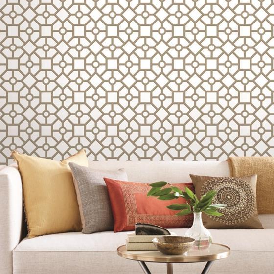 Psw1026rl Tropics Geometric Gold Peel And Stick Wallpaper Peel And Stick Wallpaper Wallpaper Roll Wall Coverings