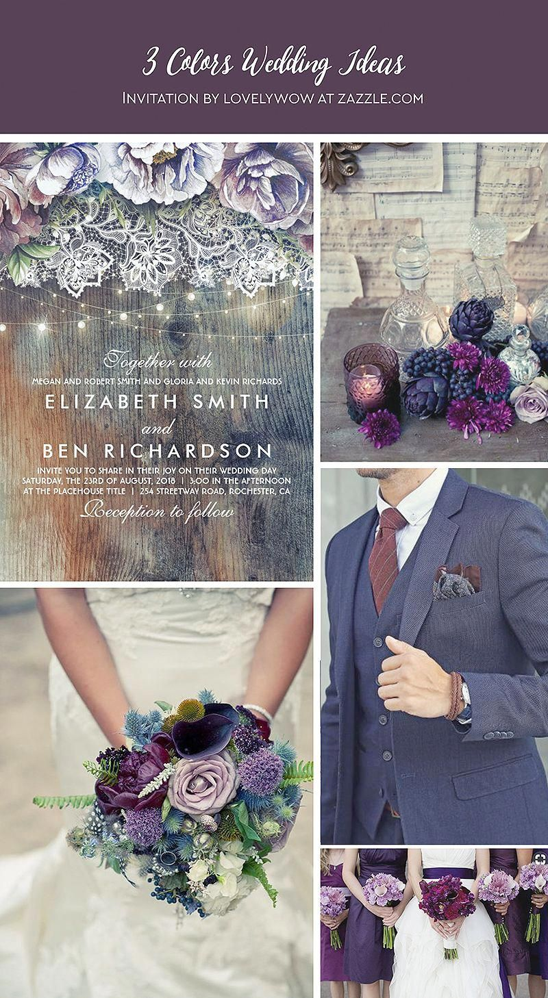 Blue Purple and Plum Vintage Floral Lace Wedding Invitation | Zazzle.com