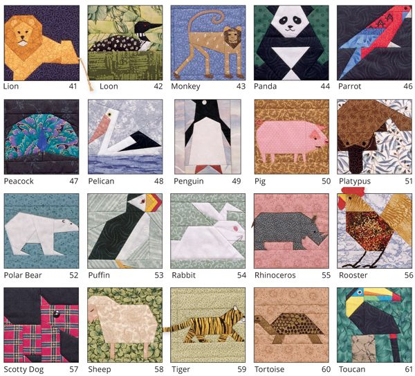 It's back! 53 animal quilt blocks to paper piece ...