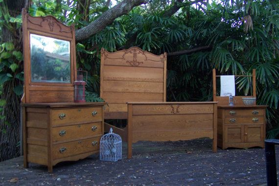 Antique Tiger Oak Full Bed By Junkdrawerdivas On Etsy