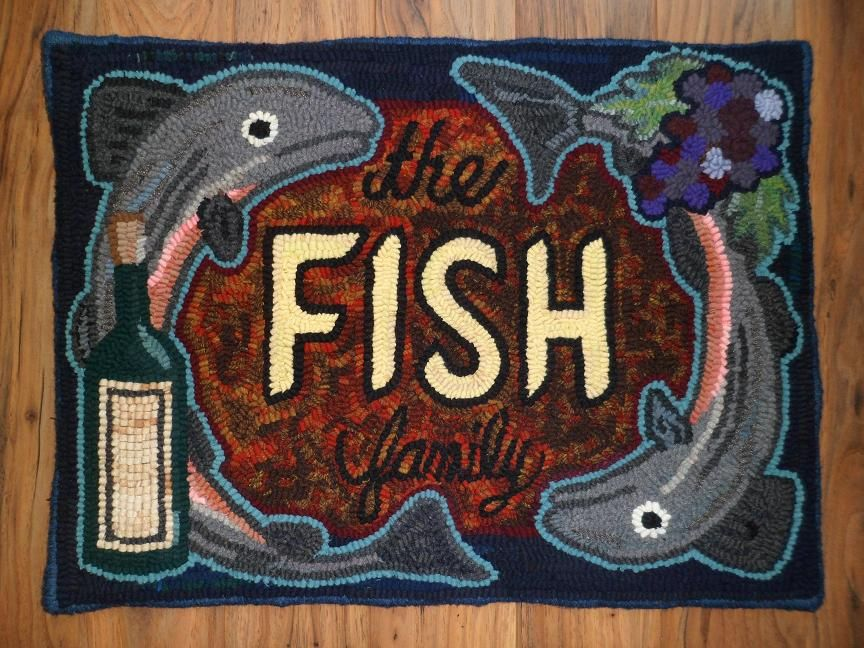 Best Commissioned Original Fish Family Design Hand Hooked Rug 640 x 480