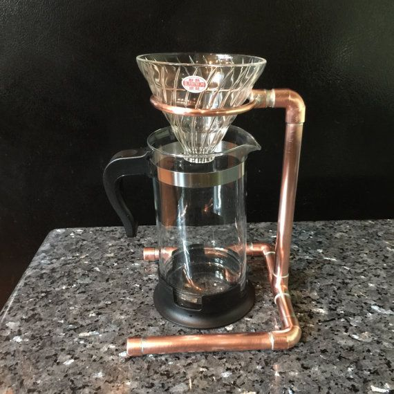Industrial Pour Over Coffee Stand, Single or Double Drip, Copper Pipe Steampunk Design, Copper ...