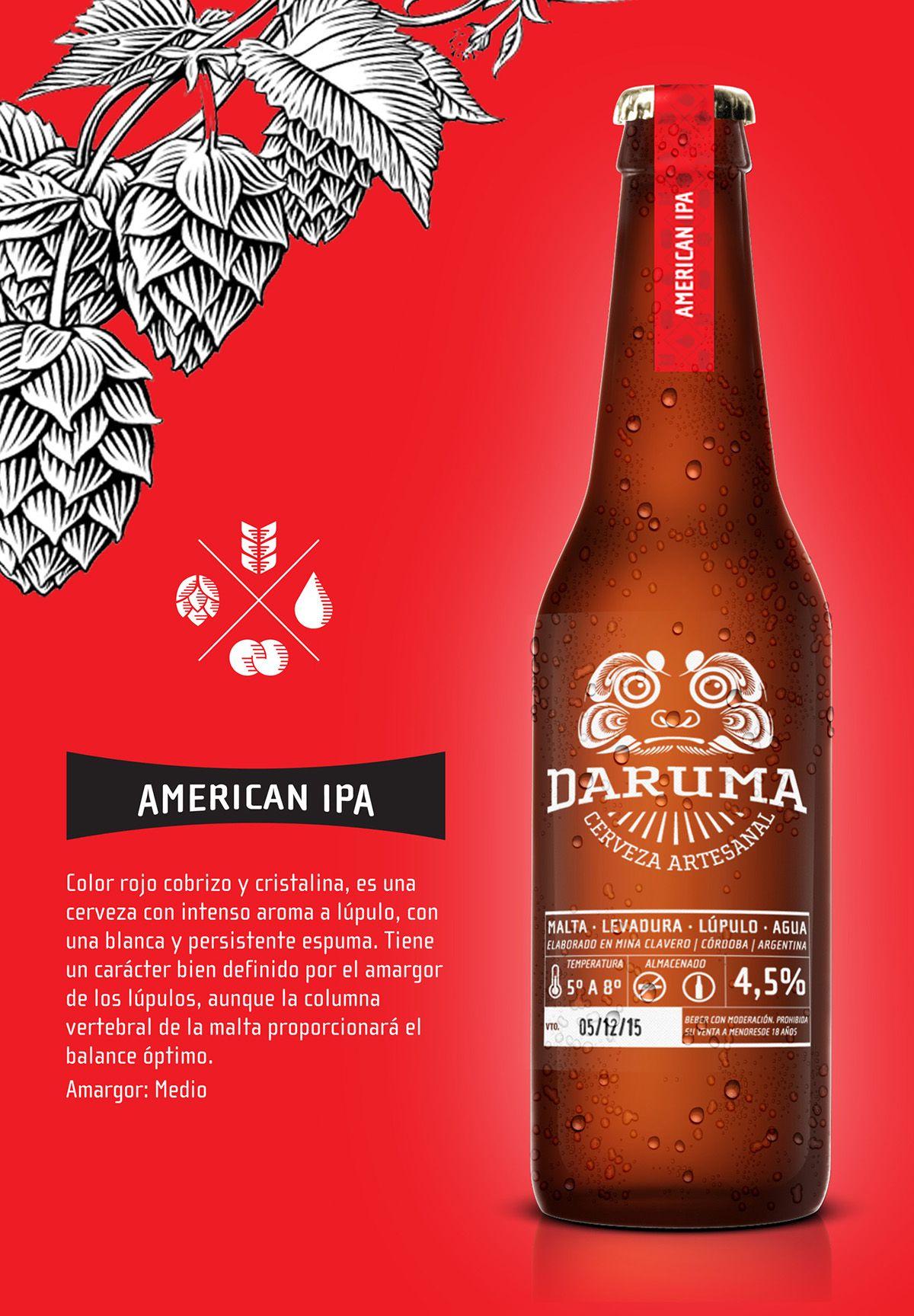 Diseño De Identidad Para La Cerveza Artesanal De Mina Clavero Daruma Beer Bottle Design Craft Beer Beer Bottle