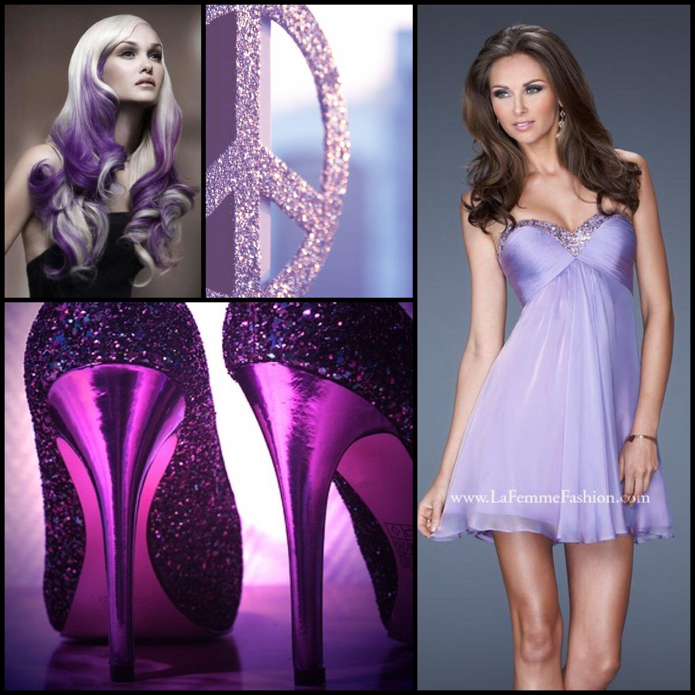 La femme style wisteria purple purple dress heels