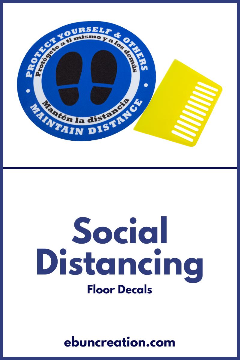 Social Distancing Floor Decal Sign 11 Inch Diameter Ebun Floor Decal Floor Stickers Social