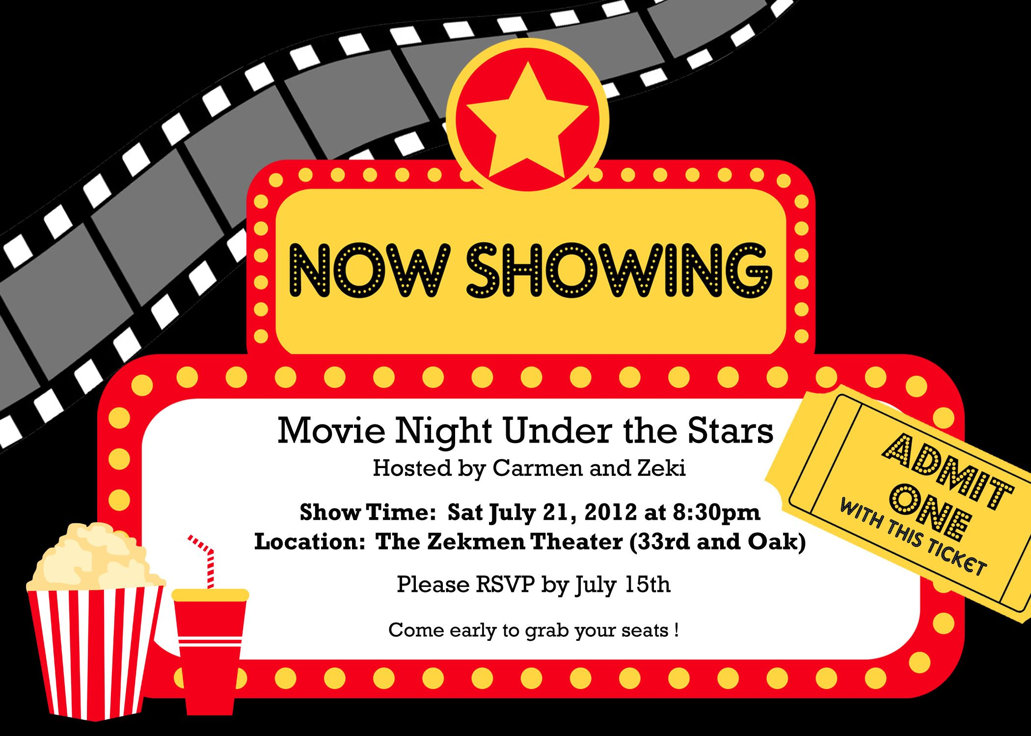 Movie Party Invitations  Party Invites    Movie Party
