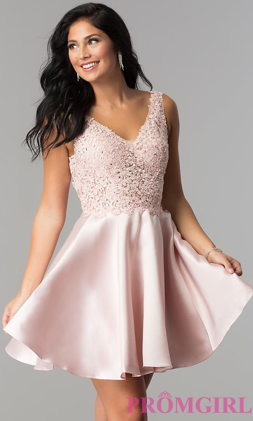 089f4a084cc Short Open-Back Homecoming Party Dress with V-Neck
