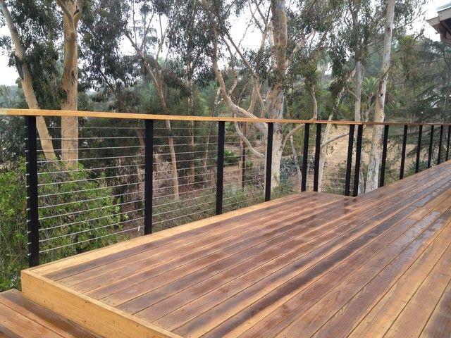 Modern Deck Railing Using Cable Angle Iron And Wood